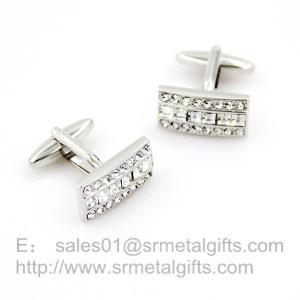 China Rhinestone Silver Modern Cufflinks for wedding Shirts, men's wedding cuff links, on sale