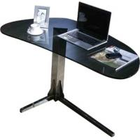 Fashion Durable Black Glass Top Desk , Modern Office Metal Writing Table , Glass Desk designs