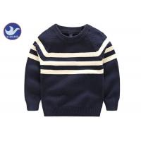 China Stripes Reglan Sleeves Boys Knit Pullover Sweater , Boys Cable Knit Jumper Navy Blue on sale