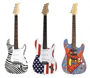 China Zebra / Super / Flag Decal Fender ST Style Electric Guitar 39 inch In Stock AG39-ST3 on sale