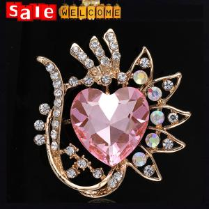 China Golden Heart Glass Flower Brooch ,Large Crystal Stone Flower Scarf Clip Pashmina Brooch on sale