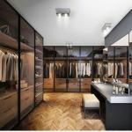 Glass Wardrobe Step-in Cloakroom Brown Glass Metal Frame Glass Door Board Wardrobe