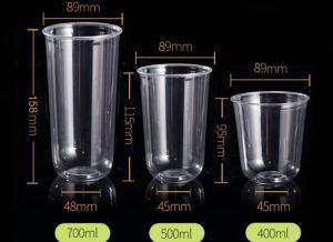 China 2019 Most popular funny 360ml 500ml and 700ml U-shape PET Clear Disposable Juice Cups on sale