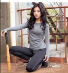 O - Neck Top Vest Womens Long Sleeved Gym Top Running Base Layer Hand / Machine Wash