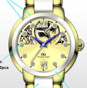 China Luxury Ceramic Stainless Steel New Wrist Watch , Mechanical Automatic movement Skeleton Watch on sale
