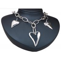 China Heart Artificial Silver Earrings And Necklace Sets Costume Jewelry With Chian on sale