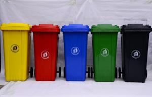 China Multi-colors Big Size Garbage Container Plastic Dustbin with wheels on sale