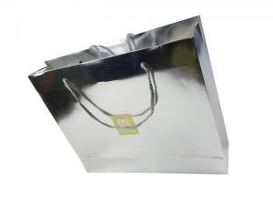 China Jinghui Printing Company Silver Color Shinny Craft Lamination Custom Design Paper Bags with Rigid Handle on sale