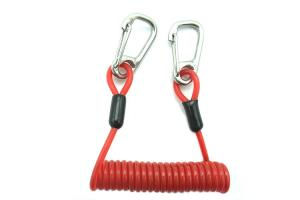 China Stainless Steel Red PU Retractable Tool Safety Lanyard With Double Snap Hook on sale