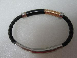 China Men's Slim Braided Genuine Leather Bracelet, Comes with Magnetic Clasp Bracelet on sale