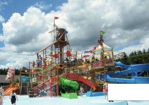 China Skull Style Water Playground Equipments With fiberglass water slide and water play on sale