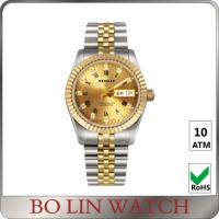 18K Full Gold Luminous Hands Watch , Ladies Gold Bracelet Watches With Date Window