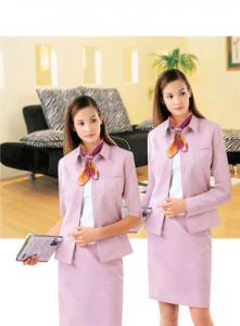 Quality Professional Pink Corporate Clothing Cotton Front Desk Uniforms For  Employee For Sale