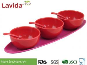 China Snack Condiment Sauce Melamine Serving Trays Unbreakable With 3 - Bowl And 3 - Spoon on sale