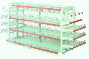 China Single Sided Metal Display Shelving Six Layers Cold Rolled Steel Material on sale