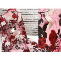 Breathable Voile Floral Lace Fabric 1.3 Meter Apply To Kids Garment / Gloves
