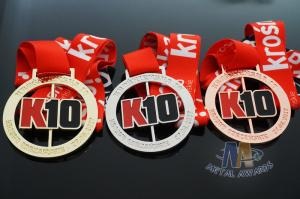Quality Spinning And Rotating Bespoke 10K Metal Award Medals For Maration , Sports Events for sale