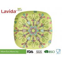 LFGB CE FDA standards colorful abstract flower style Bamboo Fibre square Food Plate Meal Serving dish
