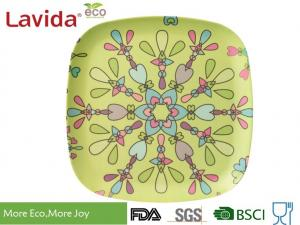 China LFGB CE FDA standards colorful abstract flower style Bamboo Fibre square Food Plate Meal Serving dish on sale