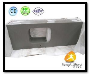 China Xiamen Kungfu Stone Ltd supply Fine Grey Quartz Kitchen Countertops  In High quality and cheap price on sale