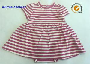 China Short Sleeve Newborn Baby Girl Dresses , 100% Cotton  Baby Girl Striped Dress on sale