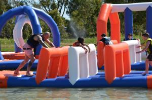 Quality 250 People Giant Inflatable Water Park Games, TUV Certificate Inflatable Wipeout for sale