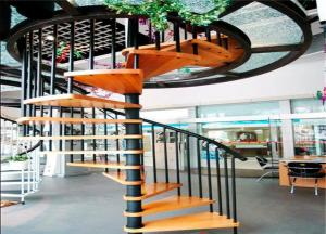 China Wood building materials steps stair steps carbon steel spiral staircase on sale
