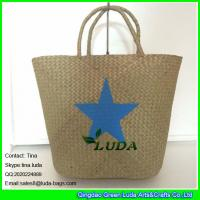 China LDSC-041 fashion palm leaf handbag star printed seagrass straw tote handbags on sale