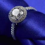 White Gold Forever One Moissanite Engagement Rings 9.25 Hardness RD0165