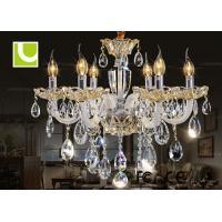 China Silver 230V / 240V 12 Light Chandelier Crystal Ceiling Lamp for High End hotel on sale