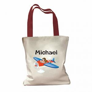 China Lightweight Custom Printed Tote Bags With Colored Handles Fashionable on sale