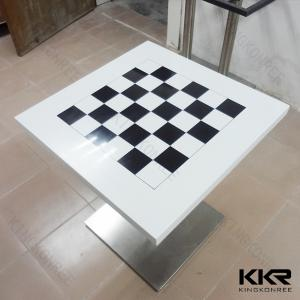 China Modern Square Solid Surface Marble Dining Table Artificial , White top on sale