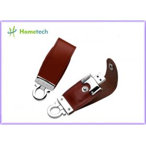 China Brown / Black Customized Leather Usb Flash Drives 1GB , 2GB , 8GB on sale