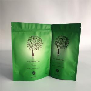 China Waterproof Biodegradable Stand Up Coffee Pouches Slimming Matcha Green Tea Kraft Paper Bags on sale