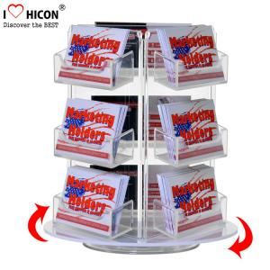 China Custom Rotating Counter Display Racks , Acrylic Business Card Display Holder 3 - Layer on sale