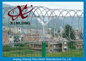 China Professional Razor Blade Wire , Security Barbed Wire PVC Coated Steel on sale