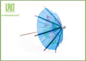 China Blue Umbrella Decorative Food Toothpicks For Fruit Decoration Free Sample on sale