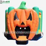 China Halloween Inflatables Giant Pumpkin Kids Bounce House Double / Quadruple Stitching wholesale