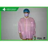 China Working Uniform Acid - resistant Pink Disposable Lab Coat For Chemistry on sale