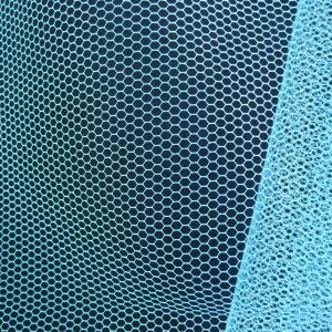 China 50D 30A 100% polyester White pink blue color hexagonal mesh cloth mosquito netting fabric on sale
