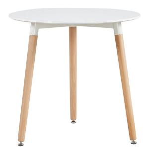China KLD Modern Round Table White Coffee Table for Kitchen Dining Room Leisure Table with Wood Legs on sale