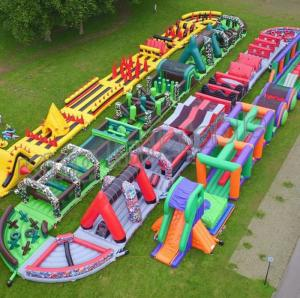 China Giant Outdoor Inflatable Obstacle Course For Adults And Kids Play on sale