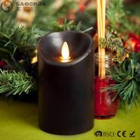 China Multi - Colored Led Black Pillar Candles with Real Flame for Home Decor on sale