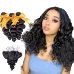18 Inch Loose Wave Malaysian Hair Extensions / Virgin Hair Bundles With Lace Frontal