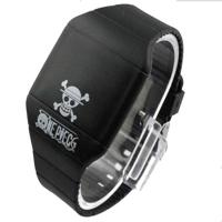 Black Rubber Men LED Digital Sports Watch With Skull Logo Print For Halloween Gift