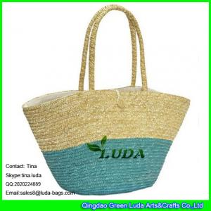 China LUDA colorblock hand braided tote bag oversized wheat straw tote bag on sale