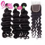 Black Cambodian Natural Wave Hair Extensions Tangle Free 3.5oz / Bundle
