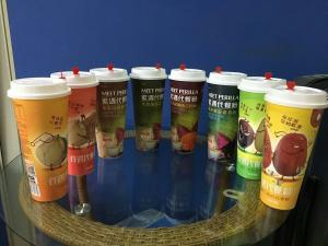 China 500ml 17oz Round Empty Disposable Juice Cups / Beverge Cup With Lid on sale