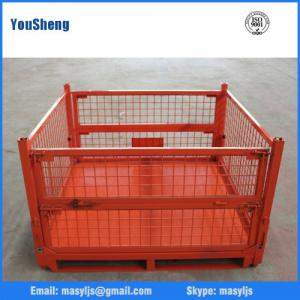 China Folding heavy capacity steel storage metal forklifts stacking warehouse roll cages on sale