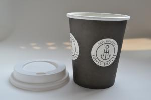 China Single Wall Paper Coffee Cups , Black Disposable Juice Cups With Lids on sale